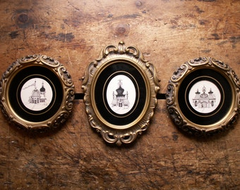 Set of Three Gold Framed Black and White Drawings - Fanciful Russian Houses