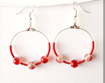 Earrings red and clear beads and Red seed beads