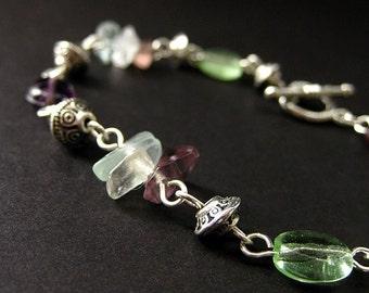 Gemstone Bracelet. Flourite Bracelet. Beaded Bracelet in Purple, Mint Green and Silver. Handmade Jewelry.