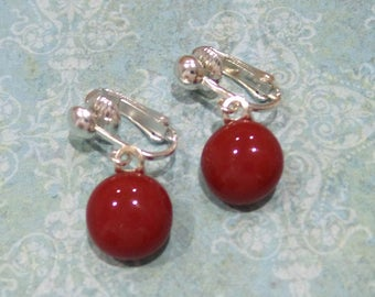 Red Clip On Earrings, Red Dangle Clip Earrings, Bold Red Fused Glass Jewelry, Clip on Jewelry, Ready to Ship  - Ruby Red -7