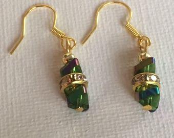 Green dangle earrings. Green drop earrings. Green BoHo earrings. Green and gold earrings.