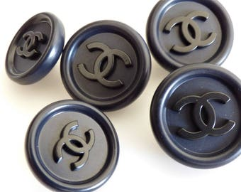 Chanel Black / Navy CC Button Stamped 13mm 17mm 19mm / Price is for one button