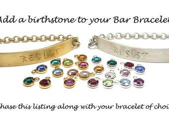 Add a Birthstone to Any Bar Bracelet, Swarovski Birthstone Customization Add on, Silver or Brass, 4mm Small Birthstone