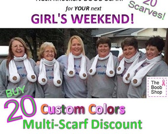 20 BOOB SCARVES  30% off Multi Boob Scarf order. Team accessories, Breast Cancer awareness, Dirty Santa Gifts, Girls weekend, Bachelor