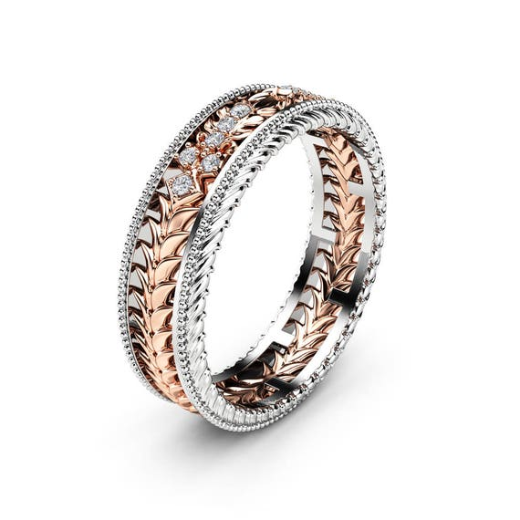Art Deco Unique Diamond Wedding Ring 14k Two Tone Gold: Unique Art Deco Milgrain Wedding Band 14K Two Tone Gold Ring