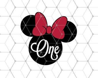First birthday svg files, Minnie Svg, Birthday Minnie Mouse Svg, 1st birthday svg, One Svg, One Year Old Cut File for silhouette, Cricut