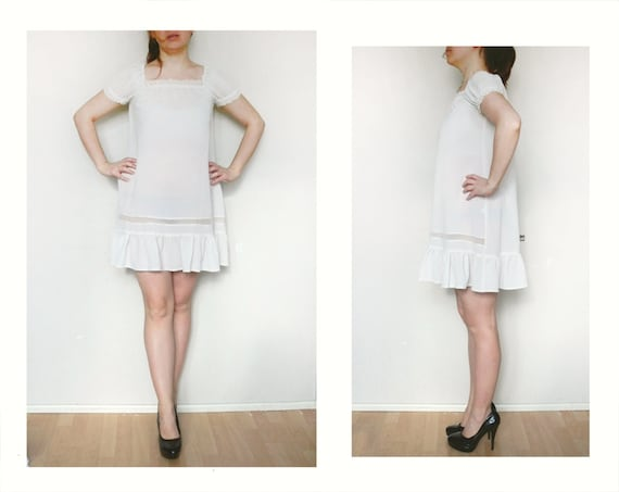 See through babydoll dress white beige vintage 90s