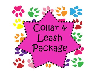 Dog Collar and 6 Ft Leash Package! (Non-Martingale & Non Canvas) - Choose Any Cotton Fabric in Shop