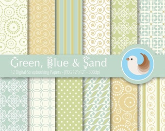 Green, Blue and Beige Digital Paper Set - Green Digital Paper - Blue Digital Paper - Set of 12 Digital Scrapbooking Papers
