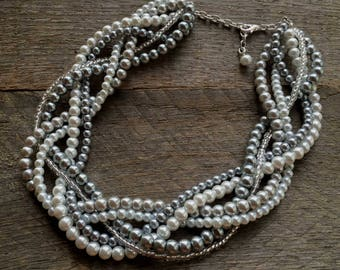 Grey White Pearl Statement Necklace, Multi Strand Wedding Necklace, Chunky Braided Necklace, Gift for Her With Silver Accent on Silver Chain