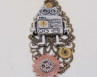 Steampunk robot necklace.