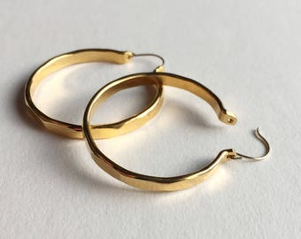 Large hoop earrings, Large facetted vintage hoop earrings, boho jewelry, gold plated hoop earrings