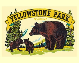 """YELLOWSTONE PARK, National Parks, Brown bear, Vintage travel posters, mid century tourism poster,  US Parks & Rec, 14x11"""" canvas print"""