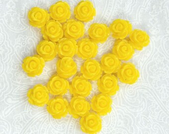 Sunflower Yellow Rose Cabochon Earring Supplies Yellow Flower Cabochon 11mm Rose Cabochon