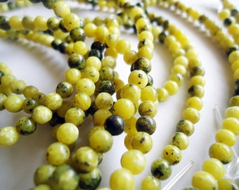 """Yellow Turquoise Beads 4mm - 16"""" Strand - Yellows, Greens, Browns"""