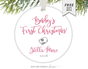 Baby's First Christmas Ornament Boy Girl Ornament Baby Girl Christmas Ornament Little Bird Ornament Birdie Baby's 1st Christmas Ornament