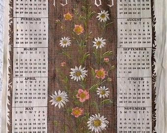 1969 Brown Pink White Daisy Floral Print Cotton Calendar Wall Tea Towel
