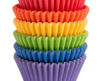 150 Ct Rainbow Baking Cups - Cupcake Liners - Standard 2 Inch Fancy Cupcake Liner Colorful Party Colors!