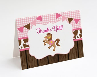 Cowgirl Baby Shower Thank You Card, Lil' Cowgirl Thank You Card, Cowgirl Birthday, Note Card, Instant Download