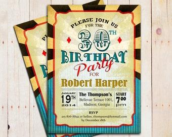 30th Birthday Invitation / 40th 50th 60th 70th 80th 90th / Any Age / Circus / Yellow Blue Black Red / Digital Printable Invite / Custom