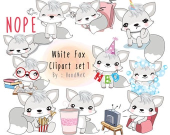 White fox clipart set 1  instant download PNG file - 300 dpi