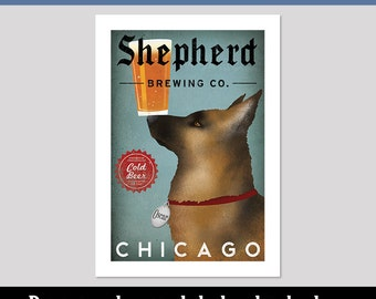 FREE Personalization German Shepherd Brewing Co. CUSTOM --  Beer  ILLUSTRATION Giclee Print signed