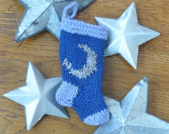 Moon Hand-Knit Christmas Stocking Ornament