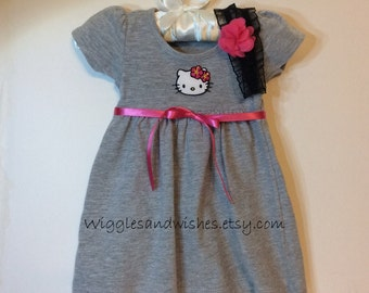 Hello Kitty baby dress with matching headband, infant sizes, reborn, realborn, Christmas gift, baby gift, shower gift