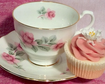 Pretty in Pink-Rosina Footed Teacup and Saucer