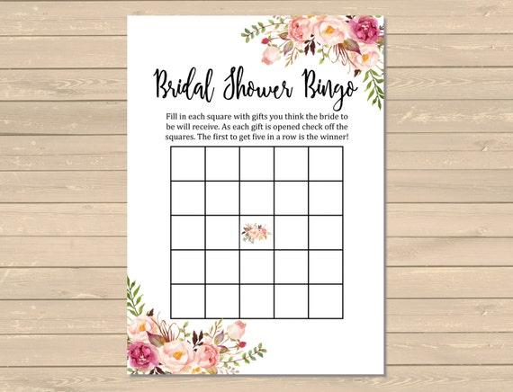 Boho Bridal Shower Bingo Game Printable Floral Bingo