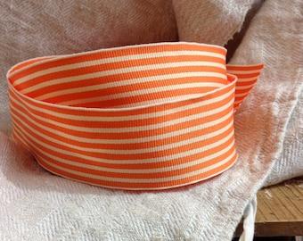 orange and cream striped grosgrain ribbon