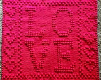 LOVE Lap Blanket Crochet Pattern 34x38