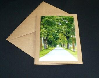 Tree-lined Path All Occasion Blank Kraft Greeting card 6.5 x 5 Graduation Photo Card