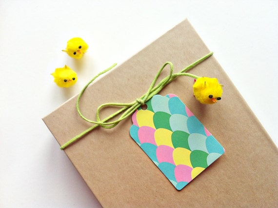 Easter gift tags // set of 5 // Colourful handmade Easter egg gift tags // Ideal for Easter favors