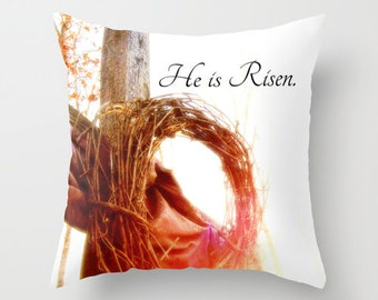 Christian Pillow, Faith Home Decor, Christian Decor, He is Risen, Bible Decor, Church Decor, Easter Decor, Christmas Decor, Cross Decor, art