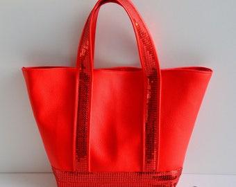 Handbag faux leather red glitter handmade @lacoutuebytitia women's fashion