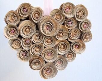 Book Heart, book wreath, vintage book, upcycled  paper decoration, Valentine's day, wedding wreath, anniversary, door wreath