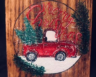 Red truck merry Christmas wall decor