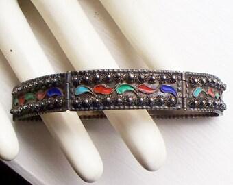 Antique Sterling and Enamel Bracelet - Etruscan, Cannetille, Export, 925, Sterling