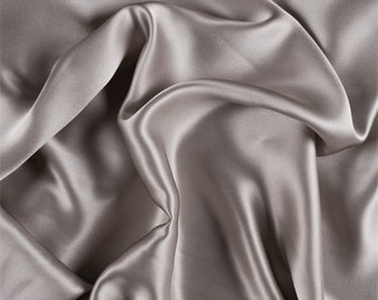 Light Taupe Stretch Silk Charmeuse, Fabric By The Yard