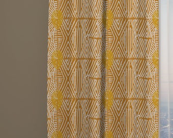 Tribal Marks Print Drapery Window Curtain Panel - Yellow - Free Shipping