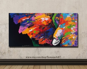 40 x 80 cm, Colorful elephant painting on canvas, wall decor paintings