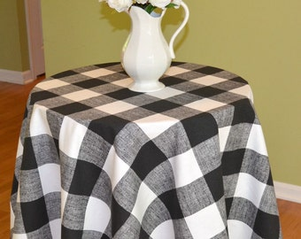Tablecloth Black White Buffalo Check Round Table Cloth   Premier Prints  Anderson   Wedding, Banquet, Party, Holiday   Choose Size