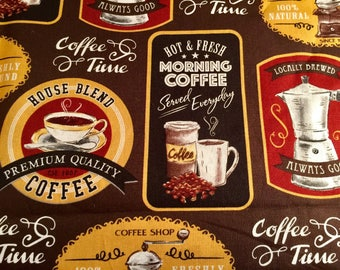 """Vintage Coffee style  1 fat quarter 18"""" × 21"""" cotton fabric  Great for Crafts, Quilting Planners, Journals, Ephemera and Scrapbooking"""