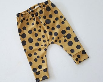 ORGANIC baby leggings in leopard dots mustard,  toddler leggings, baby pants, baby harems, toddler harems