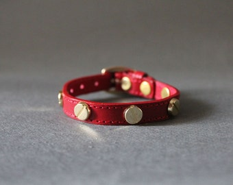 French Stud Leather Bracelet(RED)
