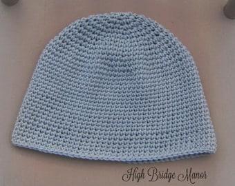 Mens crochet beanie, mens fitted hat, mens lightweight winter hat