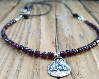 Garnet Necklace and Hill Tribe Silver, January Birthstone, Sterling Silver Love Charm, Heart Charm, Garnet and Leather Necklace