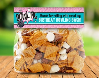 Bowling Party Favor Bag Toppers - Bowling Bash, Bowling Birthday,Bag Toppers Pink | INSTANT Download Printable PDFs