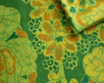 Vintage Fabric 80's Cotton, Green, Yellow, Floral, Material, Textiles